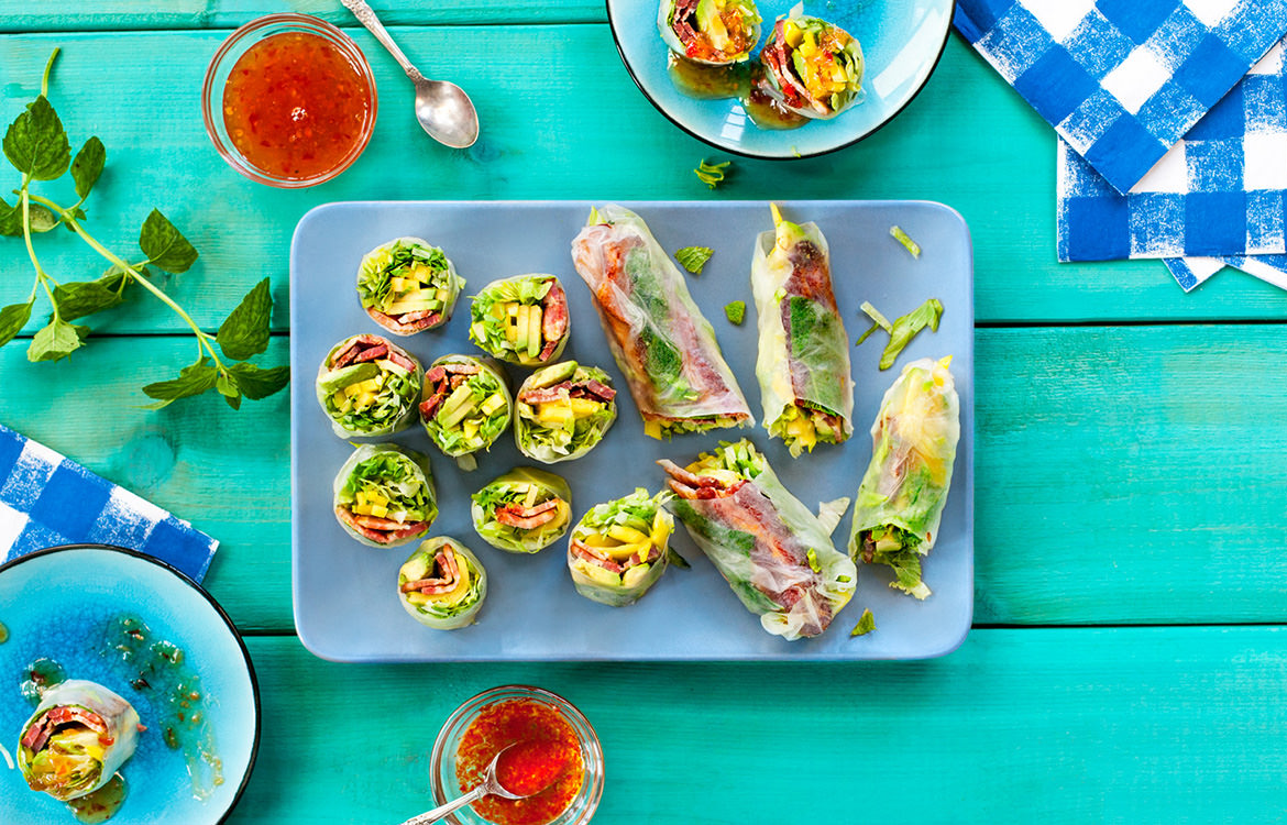 Bacon avocado fresh rolls